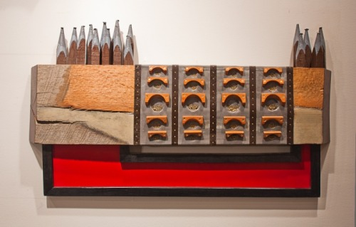 "hyperallergic:  Matt Hausmann ""May 2012 (Alchemy)"" (2012), wood, lead, brass, oil, 21""x 37""x 4""d"