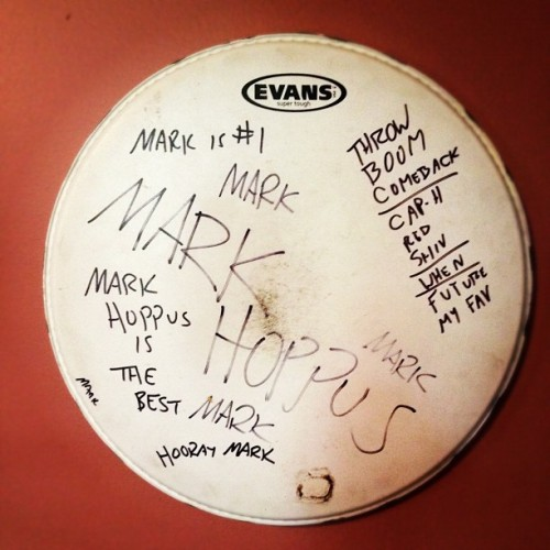 tonythaxton:  One time, on tour, @markhoppus got to my drums before I could. I forgot about this gem. I'm visiting my parents in VA for few days and this was at their house. (Taken with Instagram)