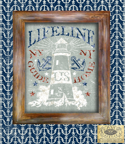 LIFELINE NY LIGHTHOUSE PRINT WITH FRAME 10X13