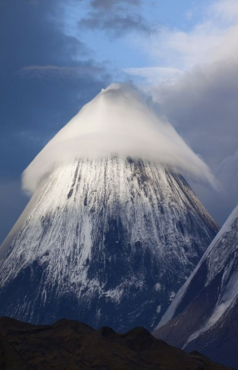 Klyuchevskaya Sopka is a stratovolcano which is the highest mountain on the Kamchatka Peninsula of Russia and the highest active volcano of Eurasia. Klyuchevskaya's first recorded eruption occurred in 1697, and it has been almost continuously active ever since.