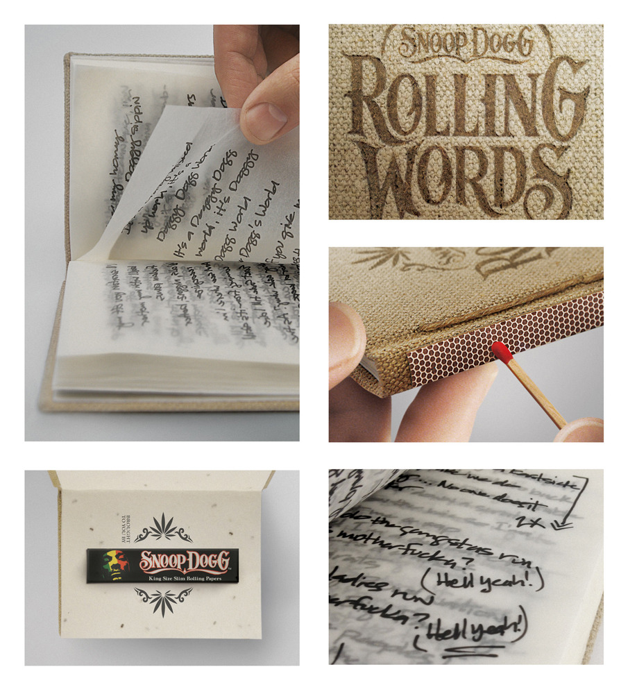 "Rolling Wordslovelypackage.com Designed by Pereira & O'Dell | Coun­try: Unit­ed States""Intro­duc­ing Rolling Words, Snoop Dogg's smok­able song­book. A pro­mo­tion for Snoop Dogg's King­size Slim Rolling Papers cre­at­ed by San Fran­cis­co agency Pereira &…"