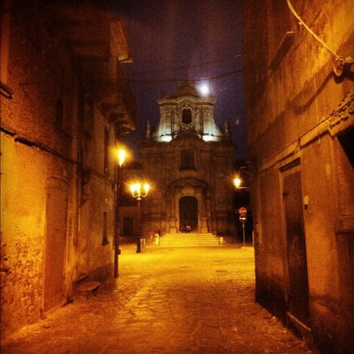 Full moon and street lamp glow on Maria of the  Assumption, Serra San Bruno, Italy (Taken with Instagram)