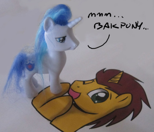 There's a lot of things I want to say and do about Brony Con Summer 2012, but first this. I was given a Shining Armor toy and just thought of Bakpony… I'm sorry.