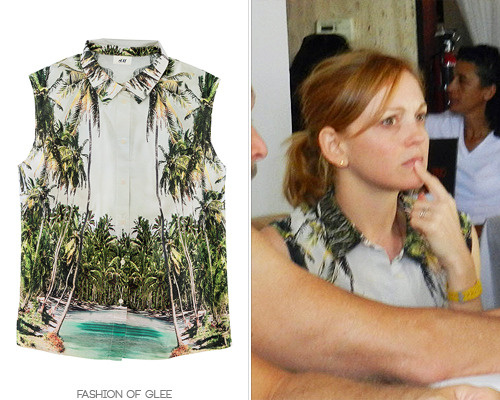 Jayma Mays dines at Trio, Los Angeles, April 26, 2012 H&M for Water Sleeveless Palm-Print Blouse - £19.99