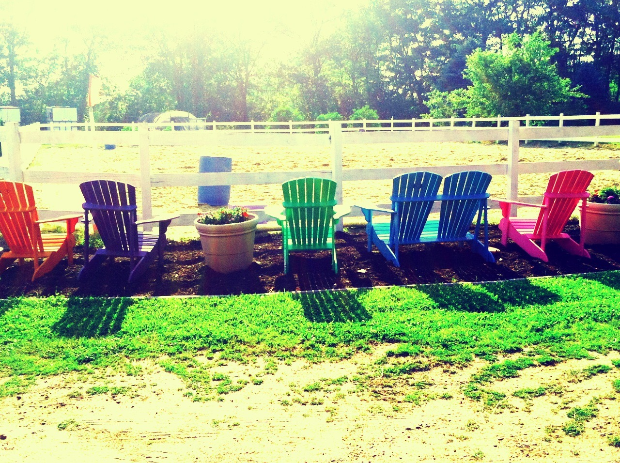 A rainbow of Adirondack Chairs in Cape Elizabeth