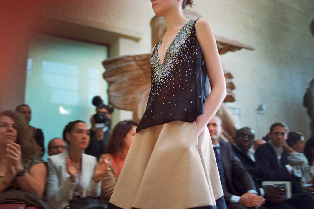 A camel skirt paired with a floaty top on the runway at Bouchra Jarrar.