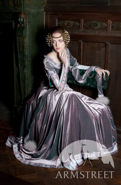 gokkivangogh:      Lady Rowena dress One of the most beautiful dresses we ever made. It's made of velvet and decorated with exclusive trim, specially designed by ArmStreet and manufactured for this dress. Trimming is embroidered with beads and tiny pearls along neckslit, sleeves and front accents. Also it's additionally decorated with fur. Velvet is stretchy which makes this dress more slim-fitting. Also there is front lacing which gives us extra flexibility when making it remotely for custom size. This gown has no historical prototype, however the silhouette and the style of finishing corresponds to the latter half of the XIVth century. As the inspiration of the pattern the fit of the Norman dress from the Greenlandic excavation was taken, which has been dated from that particular period.