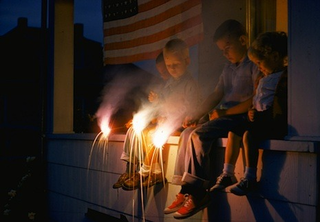 newyorker:   Sparklers are still legal in some states; you can buy them at the supermarket. Late at night, at a bonfire by a lake, we lit them—tiny handheld fireworks—and shrieked and flailed our arms. It looked as though we were waving pom-poms, cheering the moon.   When the sparks ran out, everyone except the seven-year-old, who was chasing a goose, sat on lawn chairs to read by the light of the fire. The eleven-year-old was reading a book of jokes. (He and I like to read out loud.)  Jill Lepore's fireside chat: http://nyr.kr/P3lzgy