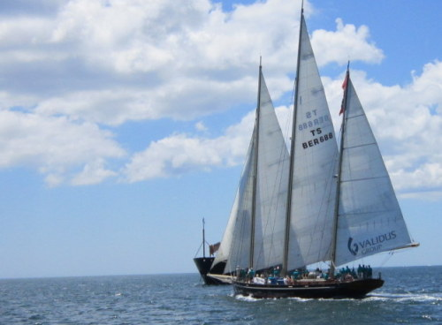 The Spirit of Bermuda, a pretty schooner, and the first boat to start for Bermuda