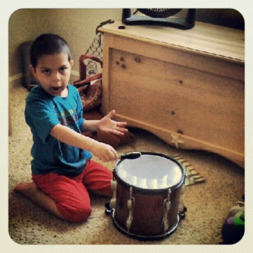 Just caught him jamming on his dad's drum in his room to some Russian Circles. (Taken with Instagram)