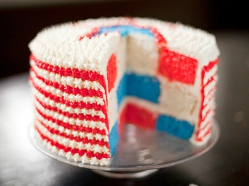 red, white, and blue velvet cake.