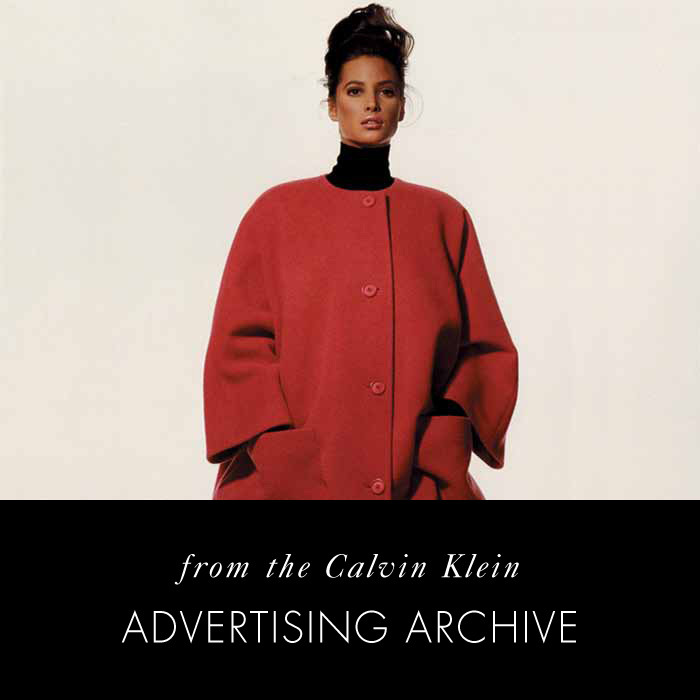 Red. Calvin Klein Coats, 1988; Christy Turlington. From the Calvin Klein Historical Advertising Archive; Photo © Irving Penn
