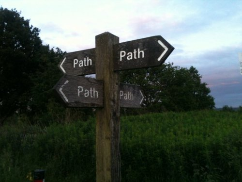"Signpost Labels Four Paths ""Path""  God help us if we accidentally go down the wrong path."