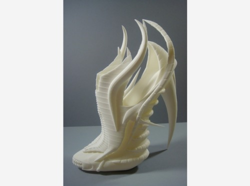 Exoskeleton Shoe : Dragon Skulls, Footwear, 3D Printing and a Commission from the Shapeways Forum   The Exoskeleton Shoe is a concept designed by Janina Alleyne & modeled by INNER | LEAF. Janina Alleyne is a very talented Fashion Design Student at De Montfort University in the UK. After requesting in the Shapeways forum for a 3D modeler, INNER | LEAF were delighted to win the commission to model one of her designs. So impressed with the first model, Janina commissioned INNER | LEAF to do her entire range which included 3 shoes and a Hat.  We are seeing the number of the requests for 3D modelers increase every month to the point that a few of the Shapeways community members are getting a regular income stream from their 3D modeling skills. If you have some design skills you would like to offer for hire you can offer your services in the Shapeways forums so that people who are looking to hire a 3D designer can find you and some of your work.  Many people want to 3D Print their ideas whether they be art, fashion, jewelry, products and architecture, sometime they just need a little help…