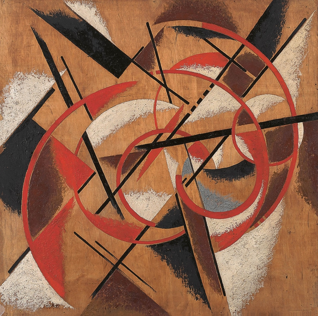 Liubov Popova, Spatial Force Construction Oil and marble dust on plywood 1920-21