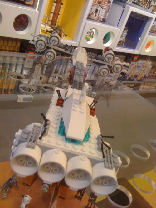 Sometimes the staff at the Lego store get to build cool stuff. This appears to be made from pieces of multiple X-Wing sets.