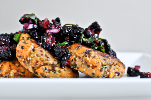 sugar-flour-eggs:  Sweet Potato Quinoa Cakes with Blackberry Salsa