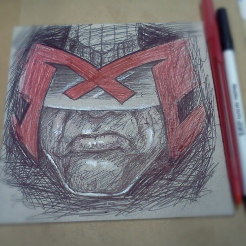 Judge Dredd #doodle #sketch #biro #portrait #drawing #bic #pen #ink #cardboard #recycle #comic #JudgeDredd  (Taken with Instagram)
