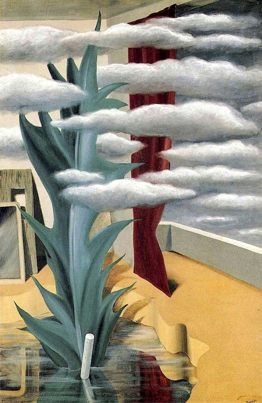 After the Water, the Clouds by René Magritte, 1926. Oil on canvas, 120 x 80 cm.  After the water, the clouds. After clouds the telephone. Then the hope that someone will hear it ring. After the answer the question. Who picked the flowers?1    Mark Young, Series Magritte, (Chicago: Mark Young, 2006), 22. ↩