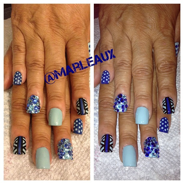 #nailart Basket weave, polka dots and blue hot bling! I used China Glaze Kinetic Color, Essie Mesmerize, Orly NAP and Swavorski crystals. #squarenails #nailenhancements #acrylicnails #essie #orly #chinaglaze #swavorski #crystals #rhinestones (Taken with Instagram)