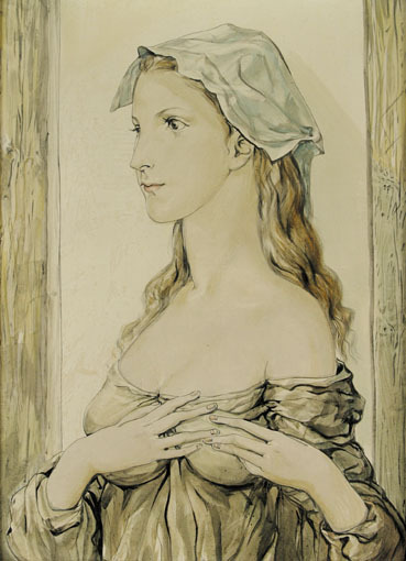 Portrait of a Young Woman in Profile by Foujita