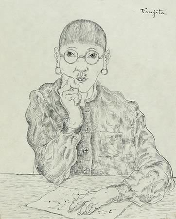 Self-Portrait sketch of Foujita