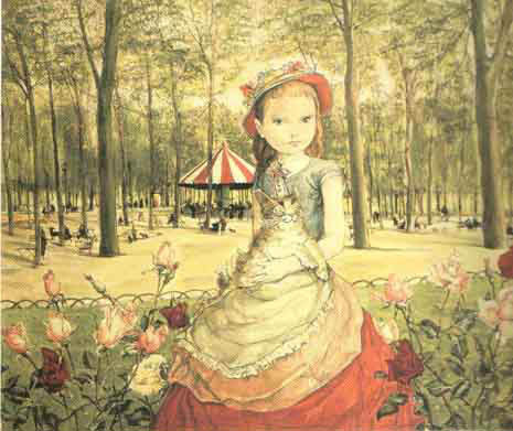 Girl in a Field by Foujita