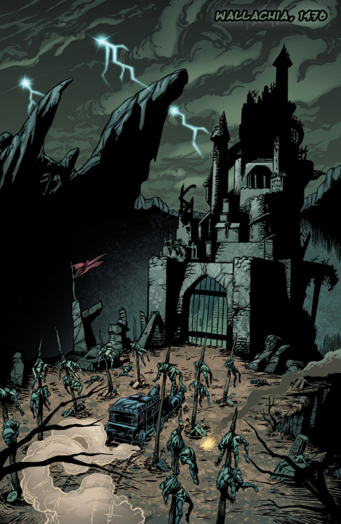 Preview: Page Six of Dracula vs King Arthur. A strange carriage pulls up to Vlad the Impaler's castle gate. Click through the image to check out our Kickstarter page. We're raising funds to reprint the graphic novel.