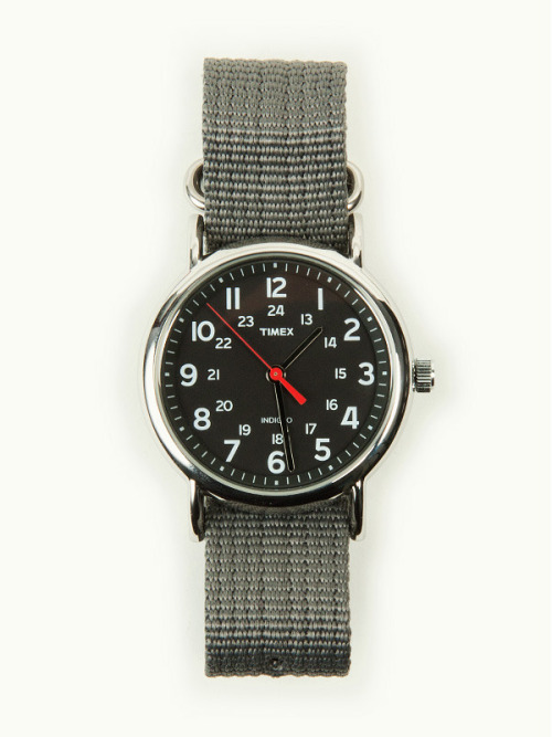distinguishedcompany:  free-man: Timex Weekender – Silver, Black & Grey  I have two Weekenders but not this color band (which I like). If you are looking for an inexpensive and plain watch, this is it. I got the idea from Primer Mag which also has a ton of other useful information for the average guy.   The only thing about this watch that I don't like is that I wish it had a larger face. Sometimes it can look a bit small because I'm used to larger watches (Suunto Vector).