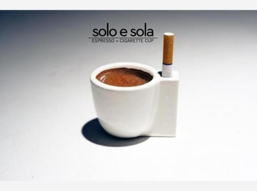 SOLO E SOLA = Espresso + Cigarette Cup 3D Printed by Shapeways