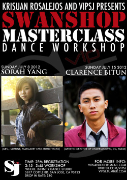 "Check out our 2 Masterclasses for the month of July! Sorah YangSunday, July 8, 2012Sorah Yang was introduced to the hip-hop community in high school when she met Michael ""Mappy"" Mappala and joined his junior team reDEFINE. She moved down to LA a year later to go to college at USC, where she danced on and off until auditioning for GRV. She has been dancing with them since, and even had the privilege of being center for Jawn Ha's piece at their first place performance at World of Dance LA 2012. She has also gone abroad to Korea, where she spread her passion through teaching dance at Korea University. While there she worked closely with Doobu, a dance trainer/choreographer for JYP talent agency. Aside from teaching various workshops all around the Bay Area and Southern California, she was featured in comedian Margaret Cho's music video from her Grammy-award winning comedy album. Sorah loves sharing her passion and enthusiasm for dance with others and aspires to spread fun, happiness, and growth through her classes.  Clarence BitunSunday, July 15, 2012In High School, Clarence Bitun began his dancing career breakdancing and free-styling with a group of friends. He then furthered his training in choreography when he joined the Irvine-based junior team, Underground right when it was established in 2007. That same year when he turned 18, Clarence auditioned for Common Ground dance team, a collegiate team that was led by his older brother, Chris Bitun and Tuan Duong, two people who still remain his biggest mentors and inspirations. Three years later in 2010, Clarence proceeded to follow his brother's footsteps and was given the position of Co-Artistic of CG. Clarence directed CG for one year before he was invited to audition for Super Galactic Beat Manipulators in 2011. Although it was difficult for him to leave a familiar environment and a family he's been training and dancing with for 4 years, one of his main goals as a dancer was to constantly improve himself and push his boundaries. Today, Clarence is the Artistic Director of where he started, Underground, and is still striving to better himself in multiple styles. His main focus is to keep training, and eventually use his knowledge to hopefully inspire others."