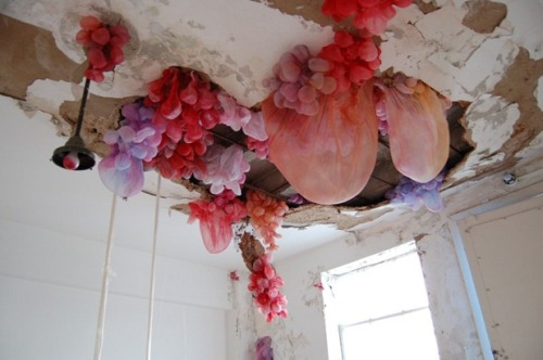 micaceous:   Sculptures by Lisa Kellner using silk, pigment, bleach, thread, and pins