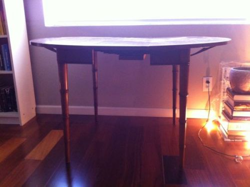 "vintage drexel heritage dining table, $90, LOS ANGELES area.  measures 38"" in diameter x 29"" high, extends to 86"" long with set of 4 extension leaves (12"" each).  features solid wood construction and faux bamboo detailing on legs.  requires refinishing. buy now!"