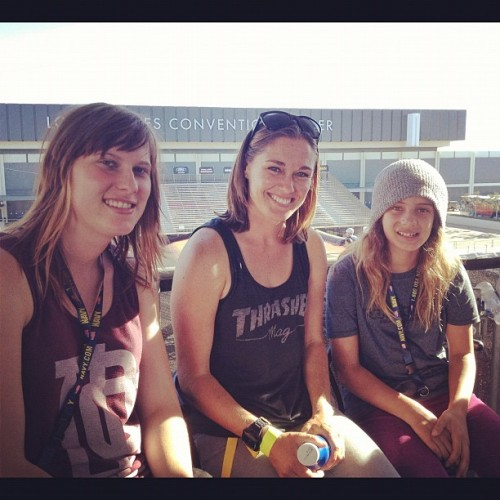 hooplaskateboards:  Team hoopla hanging at #XGames last week! Evelien, @alanaskatergirl & @knoopdogg watching big air! (Taken with Instagram)