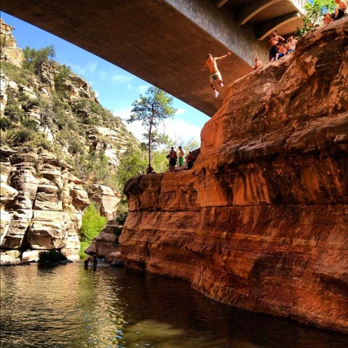 45 ft cliff jump in #Sedona ! #travel #roadtrip  (Taken with Instagram)