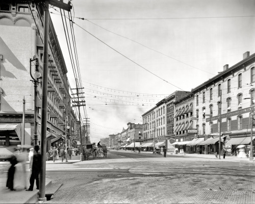 "Grand Rapids: 1908 Grand Rapids, Michigan, circa 1908. ""Canal Street from corner of Monroe"