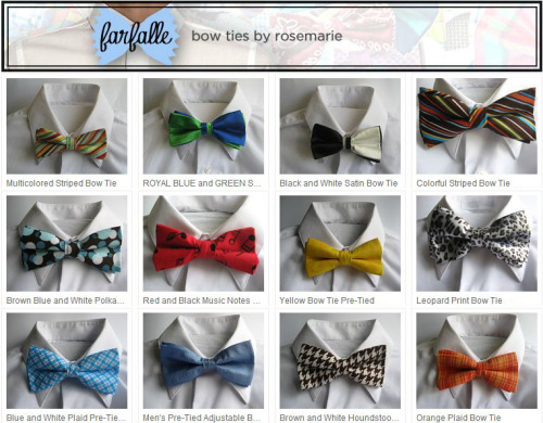 My mommy started selling bow ties on Etsy. ShopFarfalle.com How adorable are they! :D She is the best. I can't even handle how proud I am of her.  She lost her job a few months ago (was working at the same place for 23 years), and is doing this to make extra money while she job hunts.   <3 her so hard!