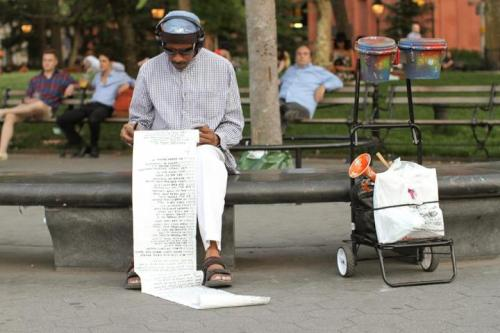 "humansofnewyork:  I asked him what he was doing.He said, ""Just making a scroll."""