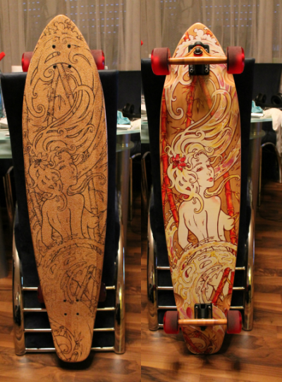 That's my new Longboard, I love it ! It's the Globe Kaguya Bamboo with 150mm Truckers from Slant Inverted. Abec 7 bearing with 70mm/83a rolls, it also have a clear Griptape.