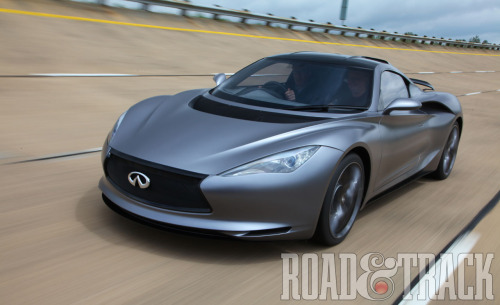 The slippery fuel sipper mid-engine extended-range hybrid Infiniti Emerg-e made its first moving appearance at this year's Goodwood Festival of Speed. (Source: Road & Track)