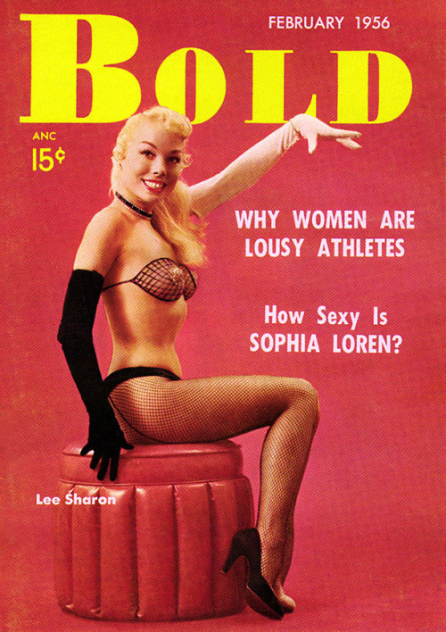 Lee Sharon is featured on the February '56 cover of 'BOLD'; a popular 50's-era Men's Pocket Digest..