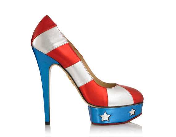 How amazing are these Charlotte Olympia patriotic pumps?! They're a glam way to flaunt your American pride. Will you be wearing red, white, and blue tomorrow? (Image via Harper's Bazaar)