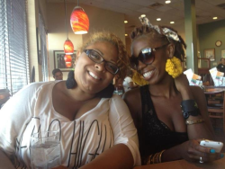 Me and my best friend in Vegas! Rockin my earrings!!!