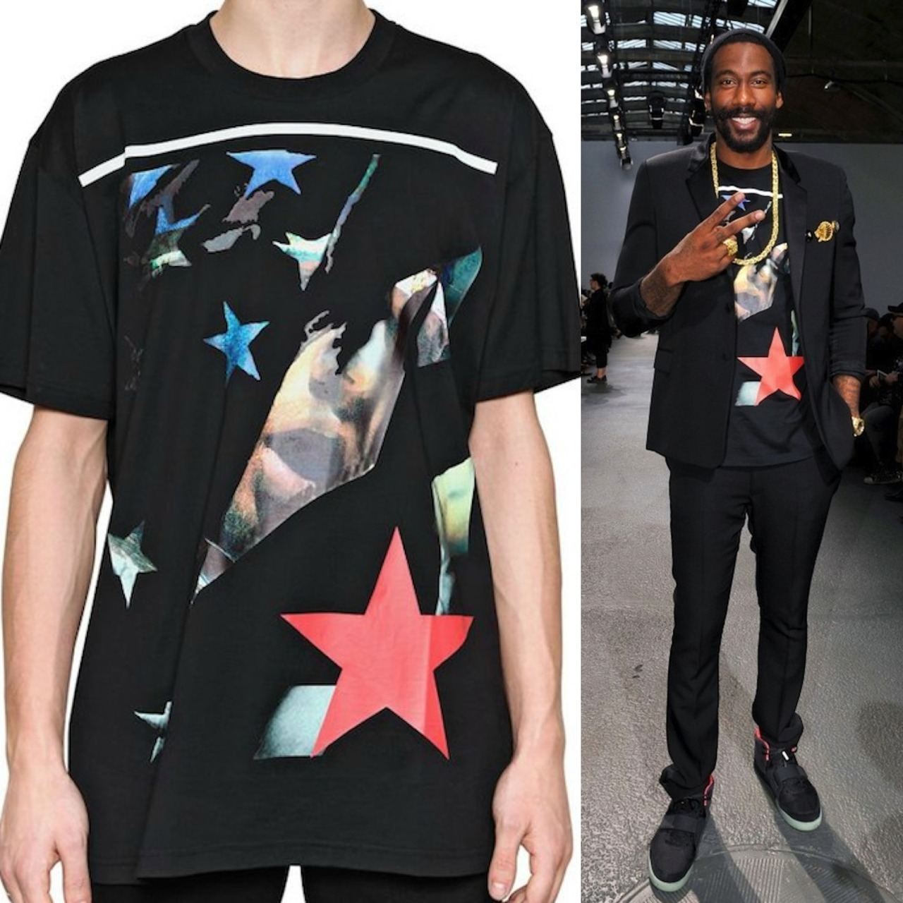 "Amare Stoudemire Wearing A Givenchy ""Apache"" Print Shirt In Paris During Fashion Week At The Givenchy Menswear Spring/Summer 2013 Fashion Show"