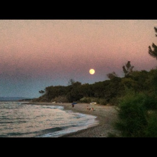 #xylokastro #moon #beach #sea #sky #trees #forrest #pefkias  (Taken with Instagram at Pefkias)