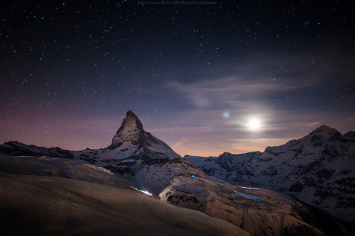 mountainousness:  matterhorn n moonlight shining by CoolbieRe on Flickr.