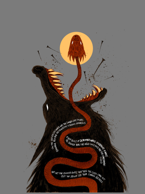 "wearecareful:  Sneak Peek of the Ben Templesmith design for Threadless Comics-On Tees Vol. 6 ""The Day The Saucers Came"" written by Neil Gaiman. Limited quantities available at the Threadless & CBLDF booths at SDCC and on Threadless.com  July 16th!"