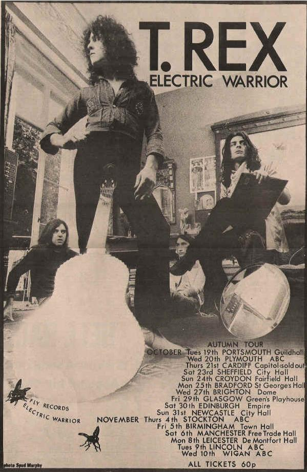 T. Rex 1971 autumn tour poster. The tour promoting the release of Electric Warrior earlier that year.