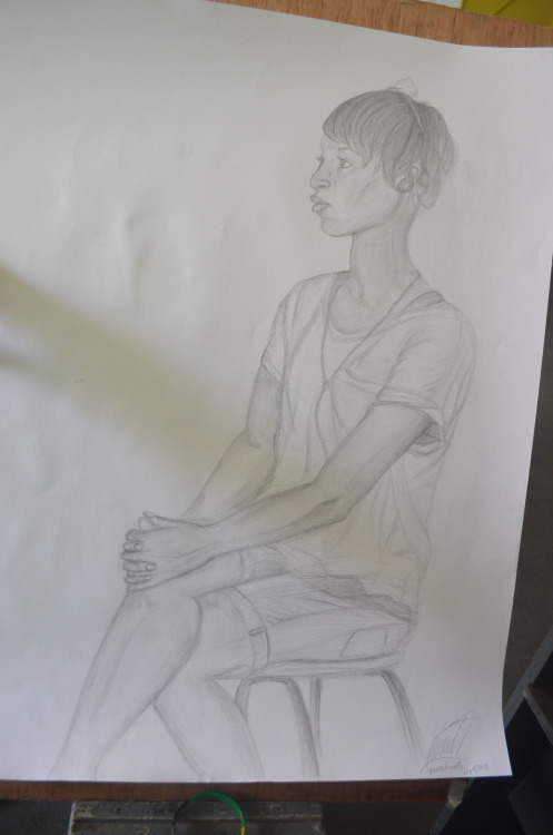 """jamaican girl: seated portrait"" my first piece in art class in jamaica seeing as i only had an hb pencil, this is pretty great if i say so myself"