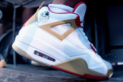 "Air Jordan 4 - ""Gentry"" The Air Jordan ""Gentry"" pays tribute to the former Jordan Brand and current Nike Sportswear executive, Gentry Humphrey. He's leaving and this is a nice way to say goodbye having worked with Jordan Brand since the beginning. The shoe is made up of white and tan with red and even includes a cartoon image of the guy."